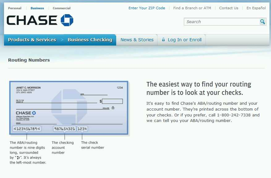 Chase Bank Routing Number nyc